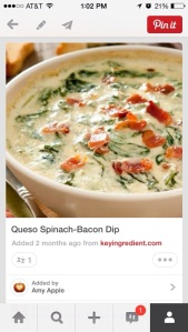 First up Queso Spinich Bacon Dip. OMG!!!  Delicious!
