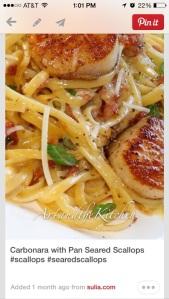 Then pasta carbonara with seared sea scallops.  MMMMMMMMMM!